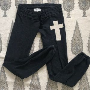 Wildfox sweatpants skinny simple cross comfy cozy